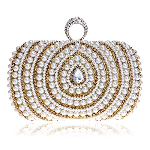 Womens Party Gathering Handbag Clutch Metallic Box Clutch Glitter Evening bag Faux Pearl Minaudiere With Interlayer Gold