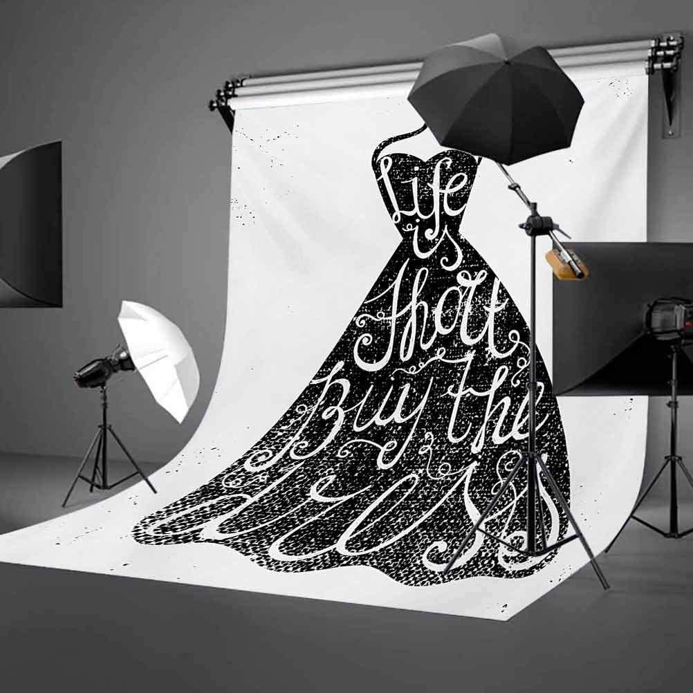 10x12 FT Backdrop Photographers,Life is Short Buy The Dress Motivational Quote on Hanger Positive Illustration Background for Photography Kids Adult Photo Booth Video Shoot Vinyl Studio Props