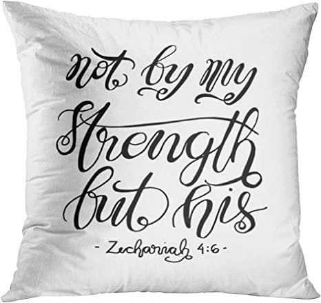 Tomkeys Throw Pillow Cover Believe Not By My Strength But His Hand Lettered Modern Calligraphy Decorative Pillow Case Home Decor Square 16x16 Inches Pillowcase Home Kitchen