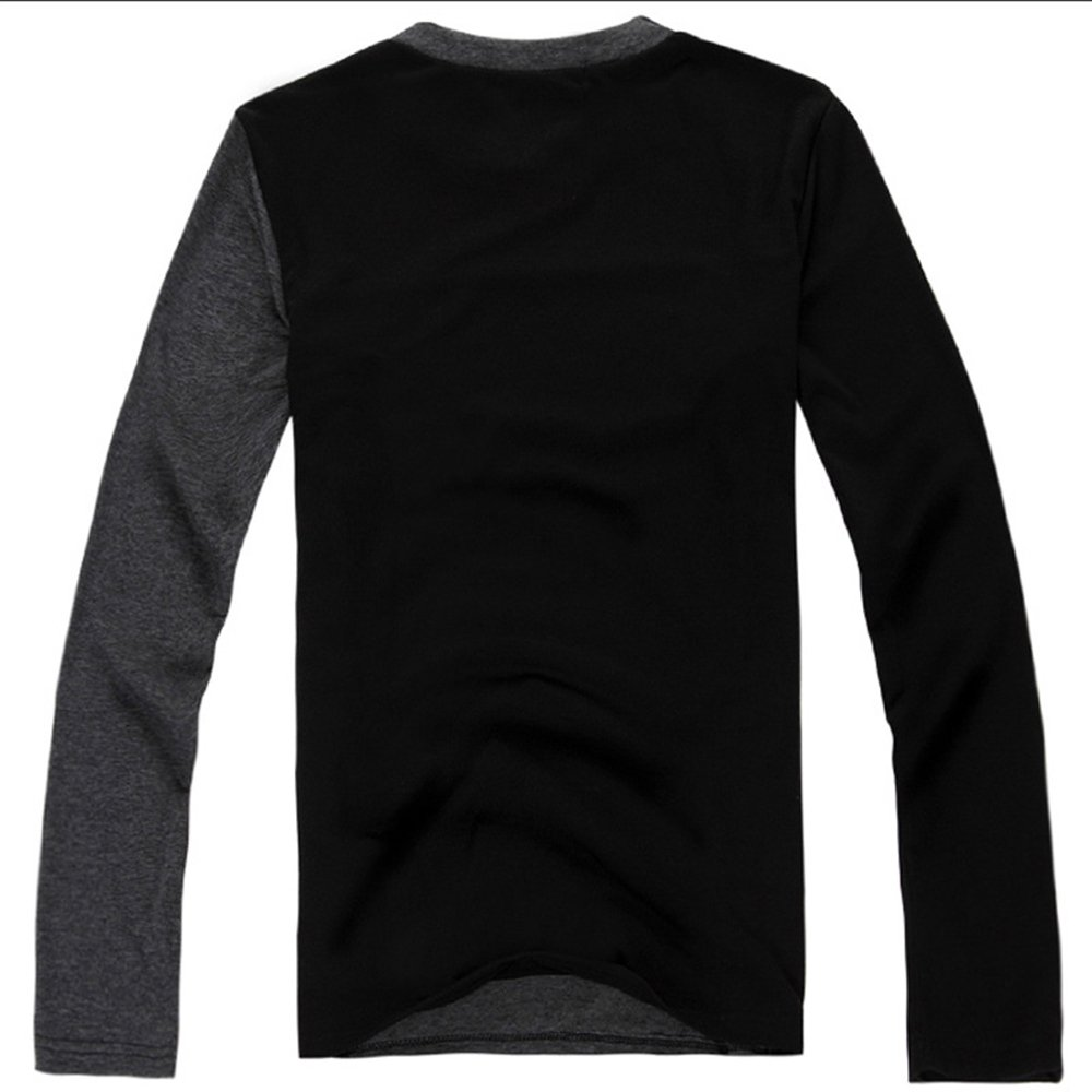 Binglinghua/® Fashion Mens Slim Fit Cotton Shirts V-Neck Long Sleeve Casual T-Shirt Tee Tops