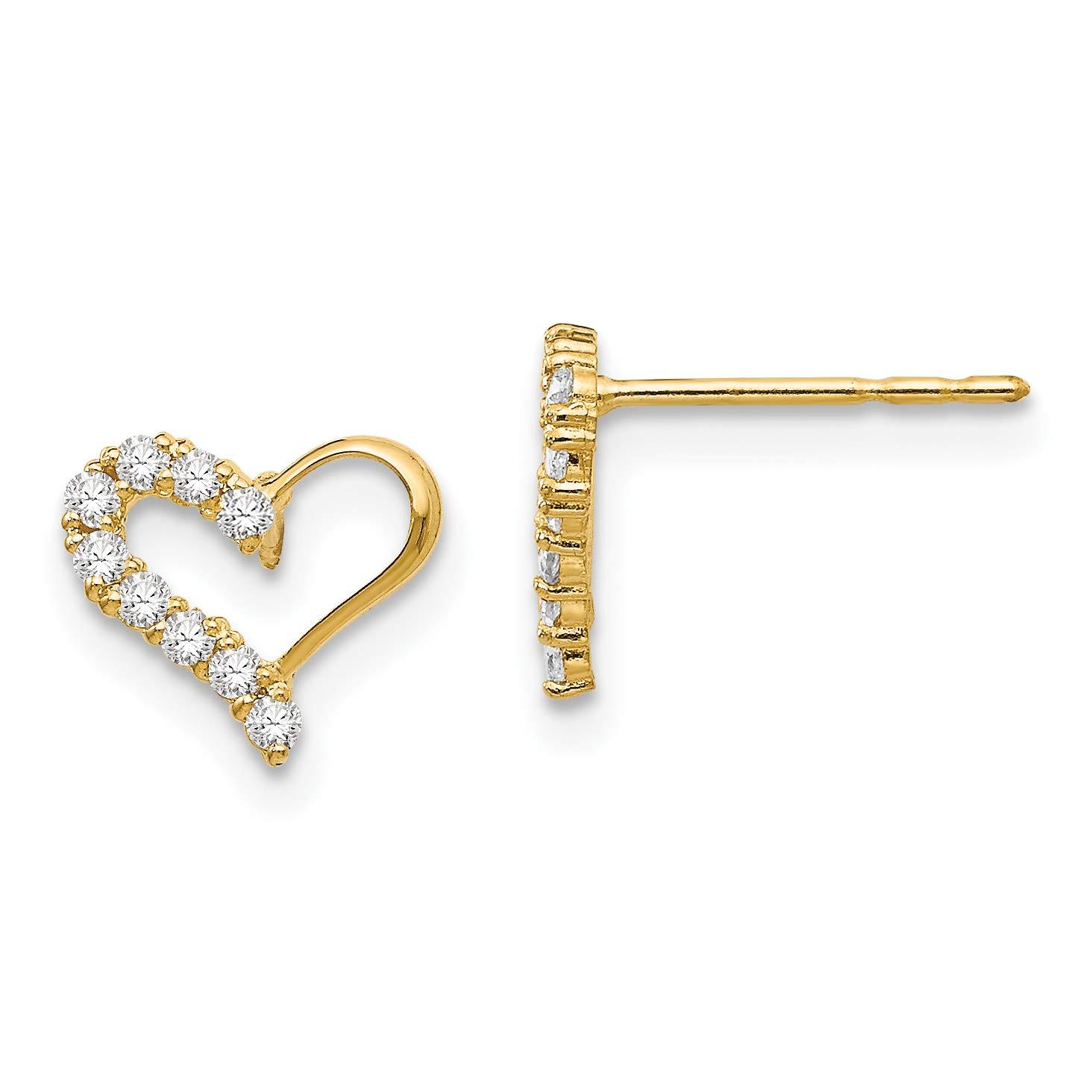 14K Yellow Gold Madi K Childrens 8 MM CZ Heart Post Stud Earrings