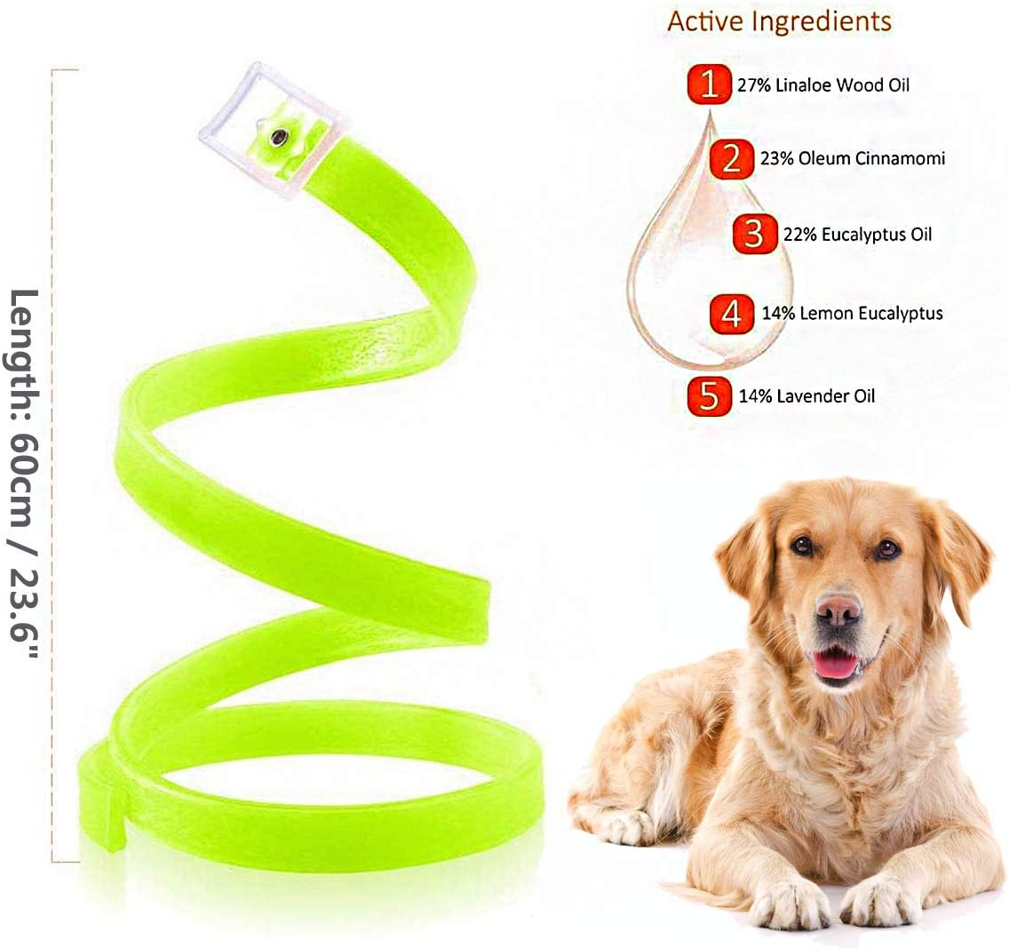 Natural Formula for Dogs and Puppies PROZADA Waterproof Dog Anti Flea Collar Fully Adjustable 60cm Length fits for Small Medium Large Pets