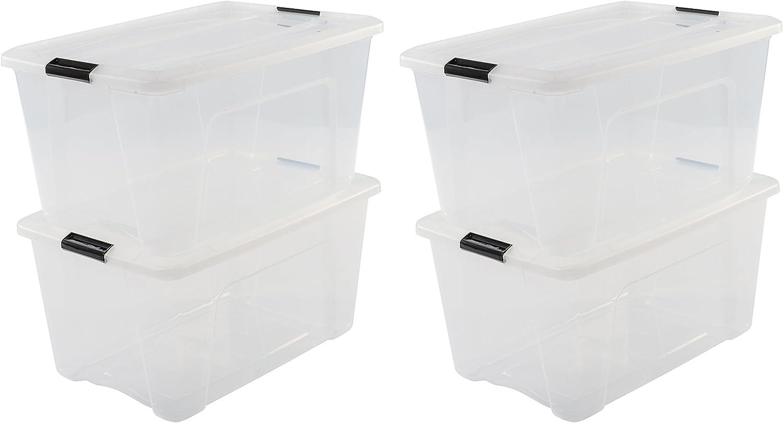 Iris Ohyama New Top Box NTB-45 - lote de 4 cajas apilables de almacenamiento, Transparente, 45 L