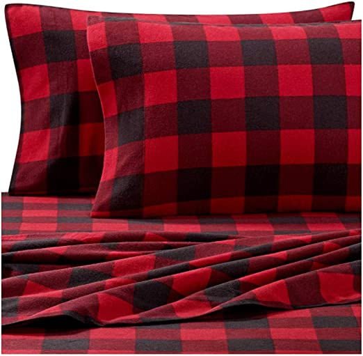 Amazon Com Buffalo Check Flannel Sheets For Twin Size Bed In Red And Black Print Heavyweight Soft And Breathable With Deep Pockets To Fit Mattress Up To 16 Inches Kitchen Dining