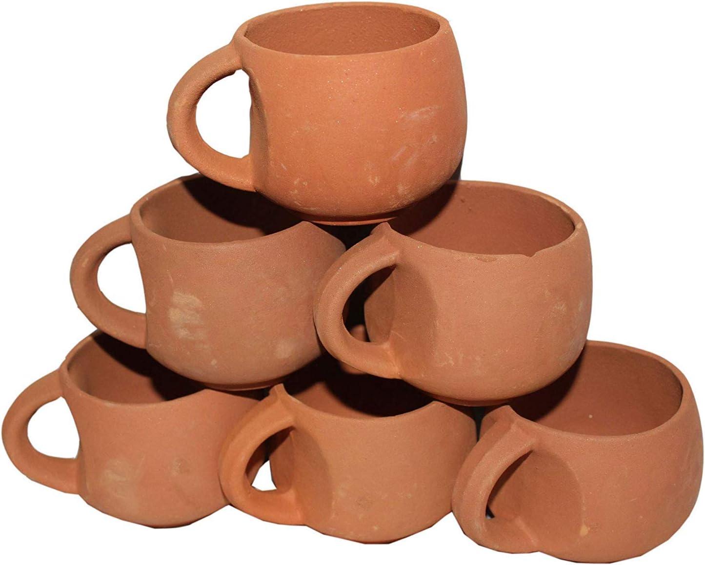 Unglazed Clay Mud Tea Cup Set of 6 Using for Tea and Coffee Odishabazaar Terracotta Real Mitti