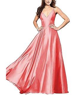 Ri Yun Women s V Neck Spaghetti Strap Prom Dresses Long 2019 Satin A-line  Formal dcb156ee8