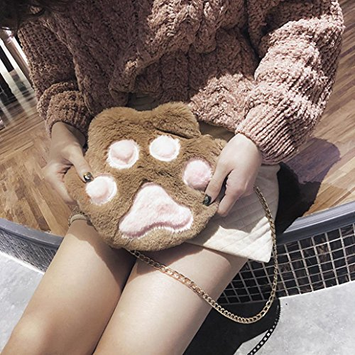 Claw Message Girls White Bag Women NXDA Bag Shoulder Brown Hand For Cute Bag Crossbody Plush and Tote Bags Cat Zipper qPxTwETnvU