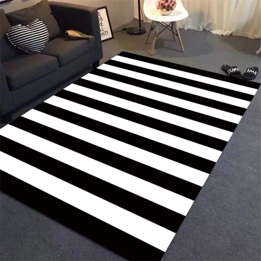 Zhajian Carpet Simple Black White Stripes Carpets For Living Room Home Bedroom Rugs And Carpets Study Room Area Rug Coffee Table Mat Amazon Co Uk Kitchen Home