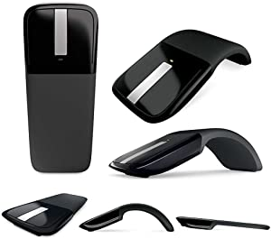 New Folding Mouse 2.4Ghz Arc Touch Wireless Touch Optical Mouse with USB Receiver for Notebook/Laptop (Black)