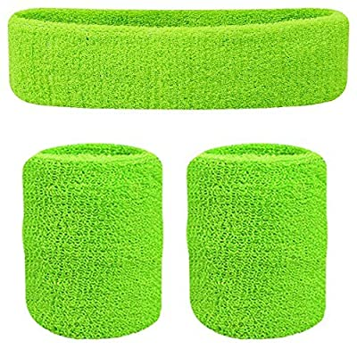 Oldhill Sweatband Set - (2 Headbands and 4 Wristbands) Thick Terry Cloth Cotton for Sports Indoor and Outdoor