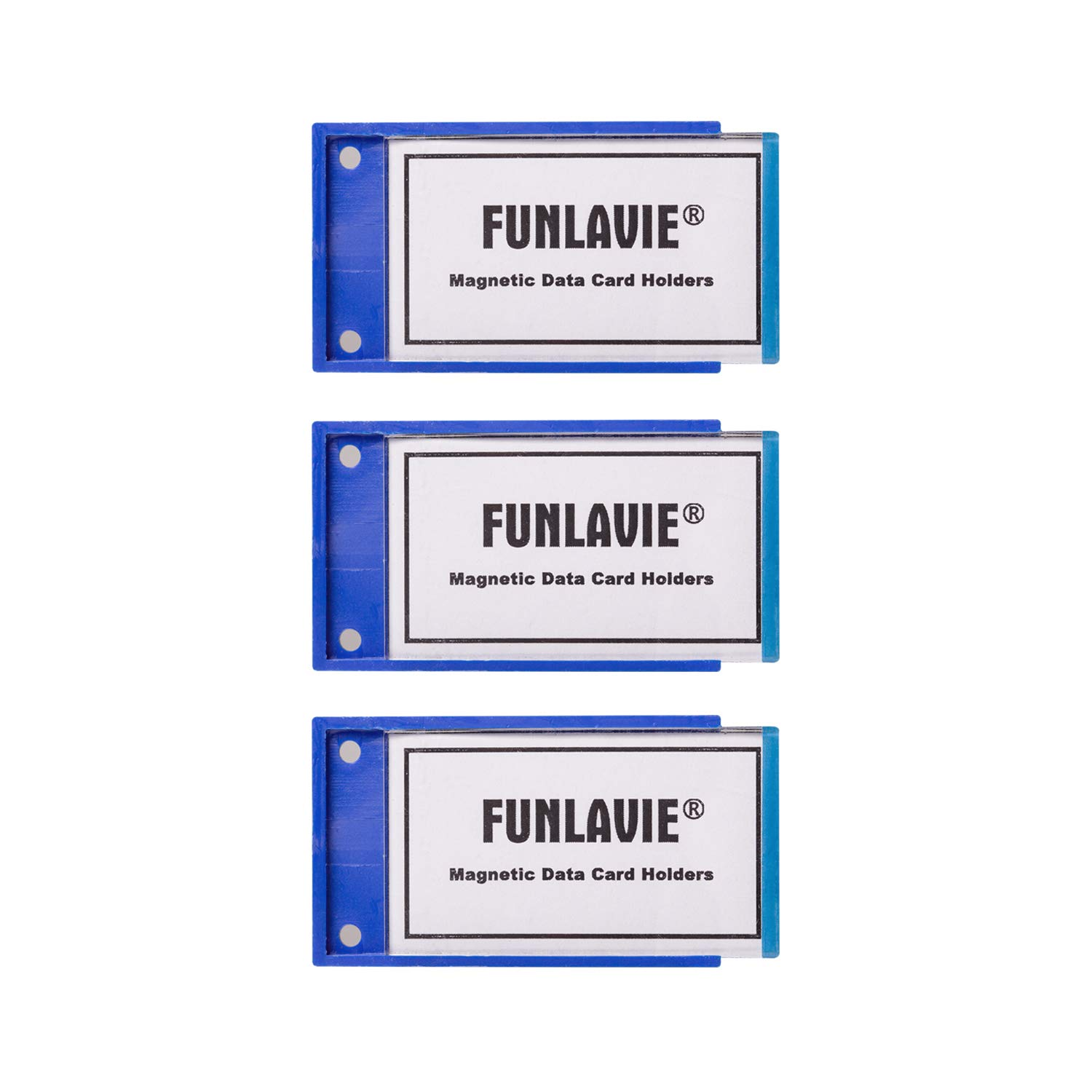 12Pcs Magnetic Data Card Holders Replaceable 2.8 x 1.7 Inches, Blue - FUNLAVIE