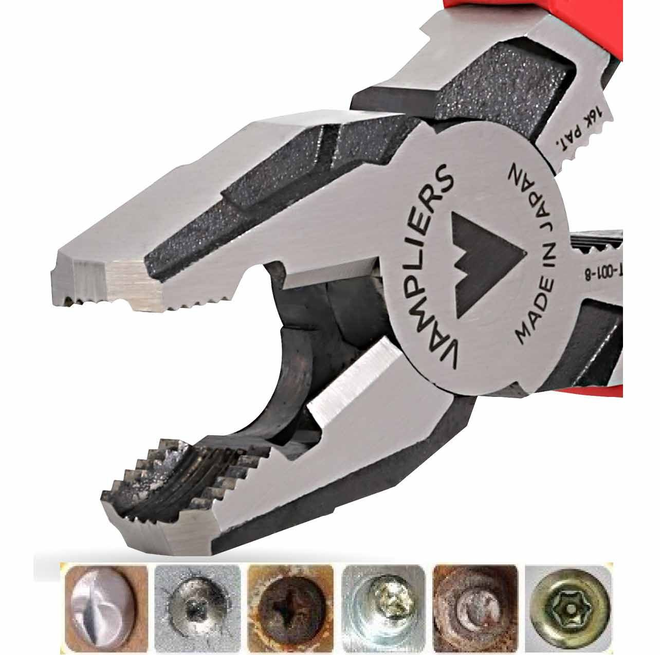 Corroded or Rusted Screws//Nuts//Bolts Worlds Best Pliers VAMPLIERS Specialty Screw Extractions Pliers 8 Pro Linemans Screw Extraction Pliers Extract Stripped Stuck Security