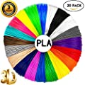 EAGY 3D Pen Filament Refills - 1.75mm PLA Material Low Odor 3D Printing Supplies Pack of 20 Vibrant Popular Colors 330 Linear Feet (16.5 ft Each), Applies to any 3D pen!