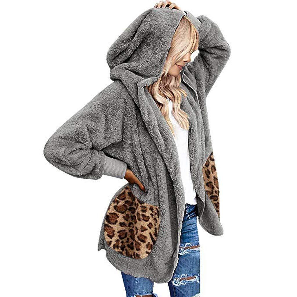 Pongfunsy Womens Hooded Outerwear Coat Women Casual Leopard Pockets Sweater Oversized Faux Fur Fuzzy Warm Coat