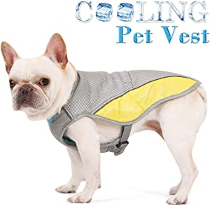 FOREYY Dog Cooling Vest with Adjustable Side Straps and Harness Attachment Hole, Reflective Pet Cooler Jacket Clothes for Small Medium Large Dogs