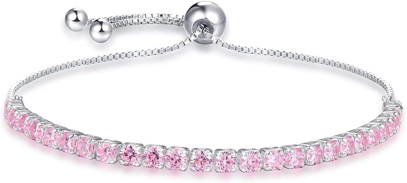Sapphire Ruby Emerald 925 Sterling Silver Bracelets for Womens /& Girls Rose Gold Silver Bracelet for Women /& Girls Sparkling Silver Pink Adjustable Tennis Friendship Bracelets