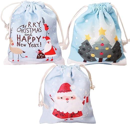 Bolsas de algodón con bolsa de regalo de Navidad con cordón, 3 ...