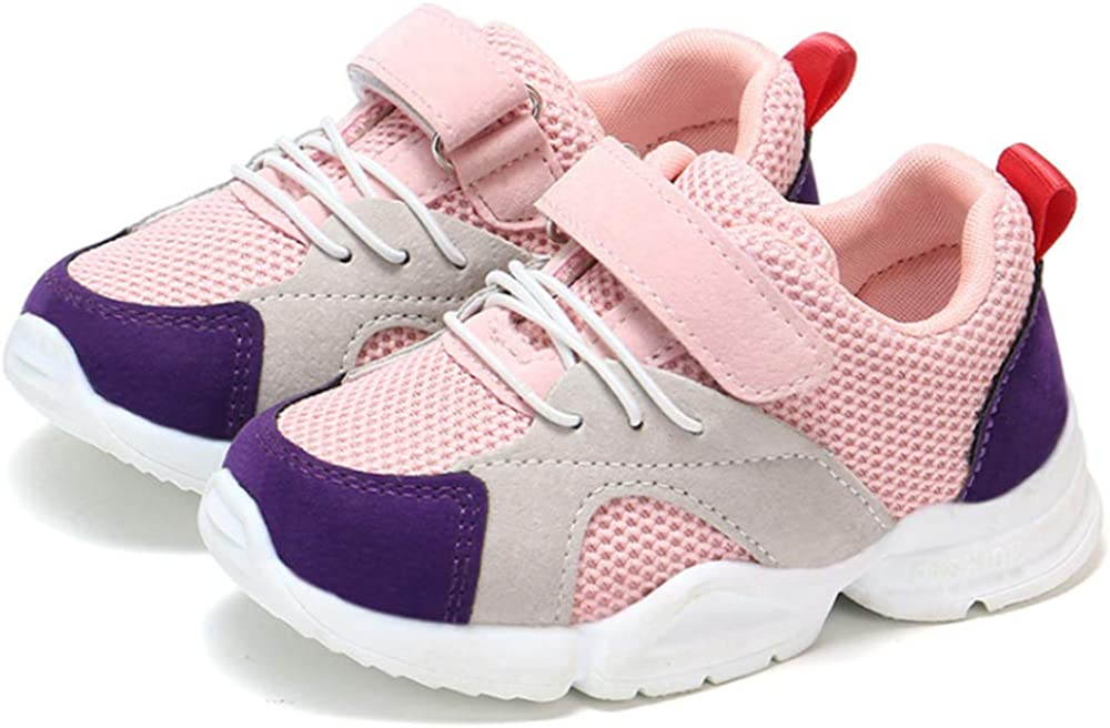 Double luck Childrens Kids Color Accent Low Top High-Fashion Dad Sneaker Trainers Pink-22