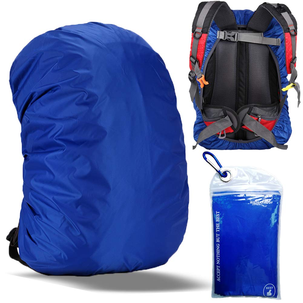 Gryps Waterproof Backpack Rain Cover with Adjustable Anti Slip Buckle Strap & Sliver Coating Reinforced Inner Layer for Camping, Hiking, Traveling, Hunting, Biking and More, 30-40L(Sapphire Blue) by Gryps