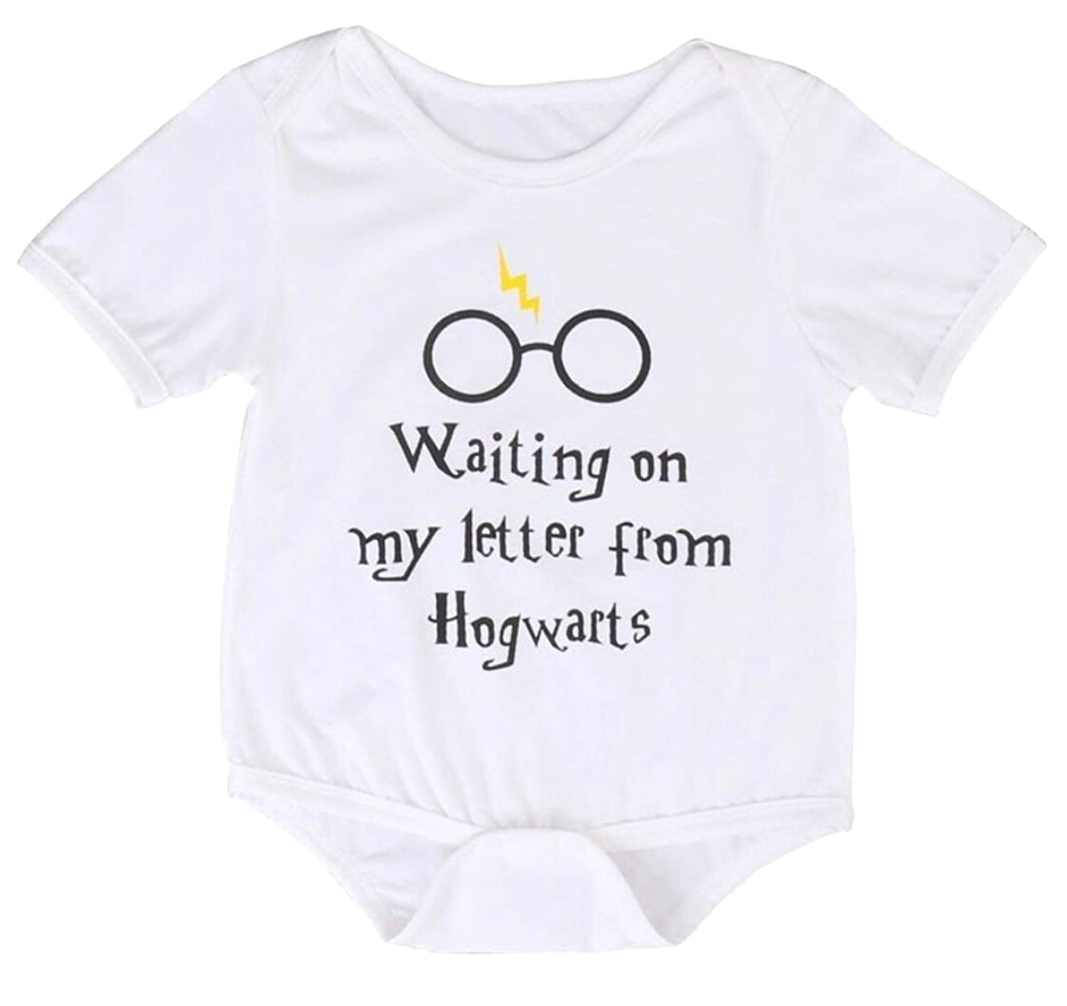 c8ad402351f Waiting On My Letter from Hogwarts Harry Potter Inspired Romper Wizard Funny  White Onesie (6