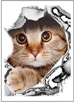 Vi.yo 3D Gatos Perros Etiqueta de La Pared Pegatinas de Inodoro ...