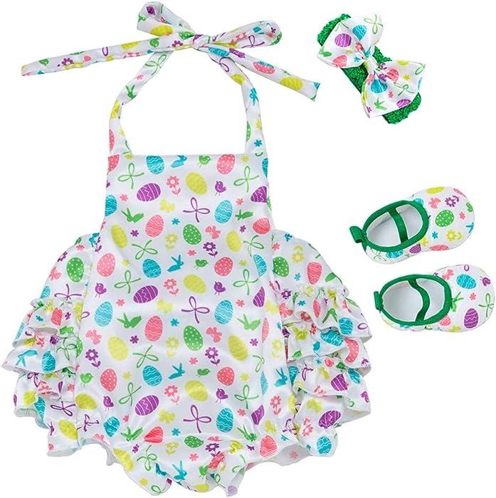 PAOLIAN Conjuntos para Bebe Niñas Verano Recién Nacidos 2019 Monoss Peleles Tirantes Sin Manga Diademas Zapatos Bebé Niñas Bautiz Impresión 0-12 Meses