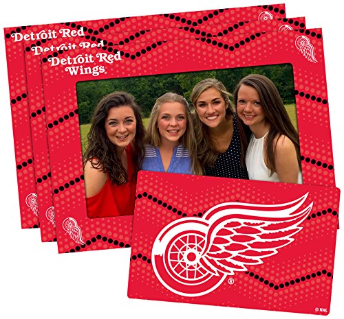 NHL Detroit Wings Magnetic Frame & Bonus Magnet, 3 Pack, Red, 4-inch by 6-inch