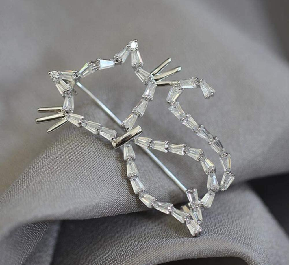 Sxuefang Brooch Stone Cat Brooch Male and Female Same Animal pin Anti-Walk