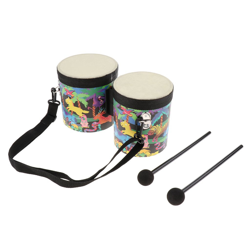 MagiDeal 2x Bongo Drums with Drumsticks Percussion Small Toy for Early Education