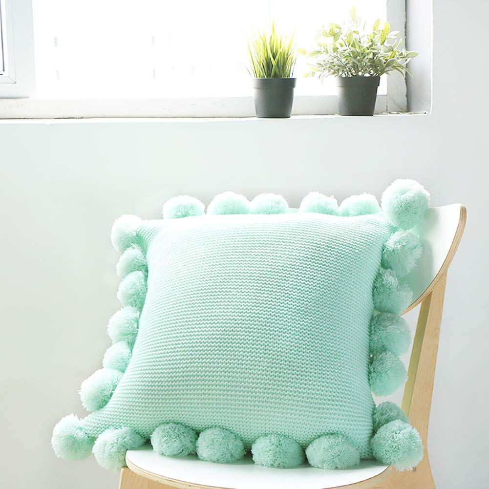ChezMax Handwoven Knit Bohemia Throw Pillow with Pompoms Tassels Warm Cotton Solid Color Pillow Square Colorful Decorative Cushion for Bed Couch Home Decor 18 X 18 inches Mint Green by ChezMax