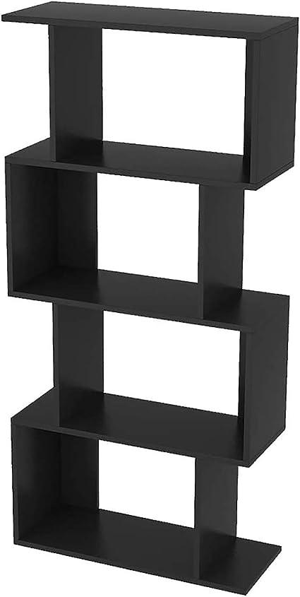 Cdbl Librería Negra de 4 Niveles en Forma de S, estantes for ...