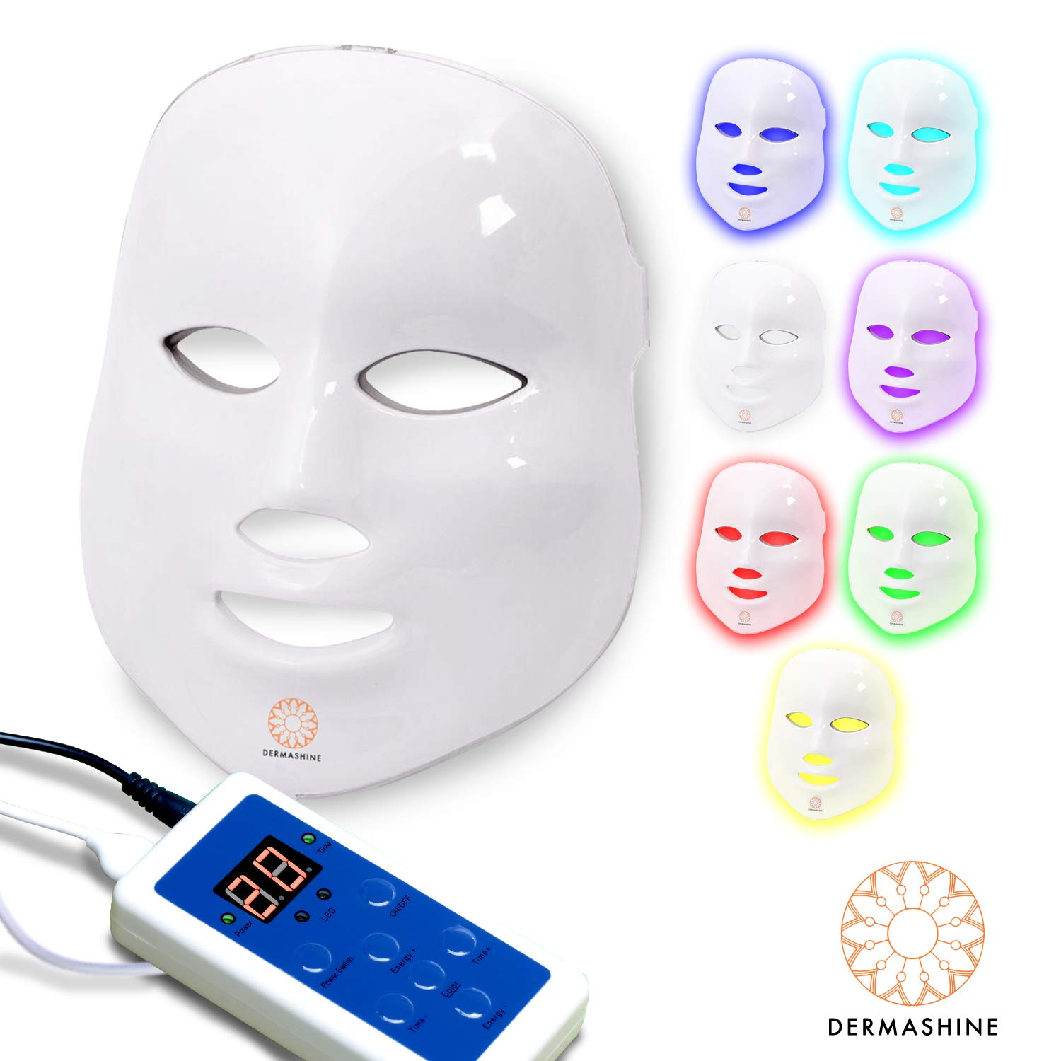 Dermashine Pro 7 Color LED Face Mask | Photon Red Light Therapy For Healthy Skin Rejuvenation | Collagen, Anti Aging, Wrinkles, Scarring | Korean Skin Care, Facial Skin Care Mask by Dermashine (Image #1)