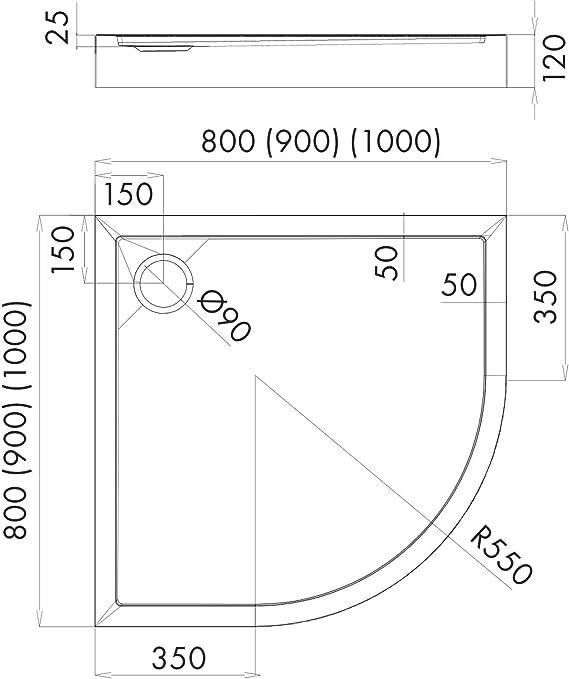 Stabilsound/® Receveur de douche en acrylique antid/érapant avec support Hauteur 12 cm