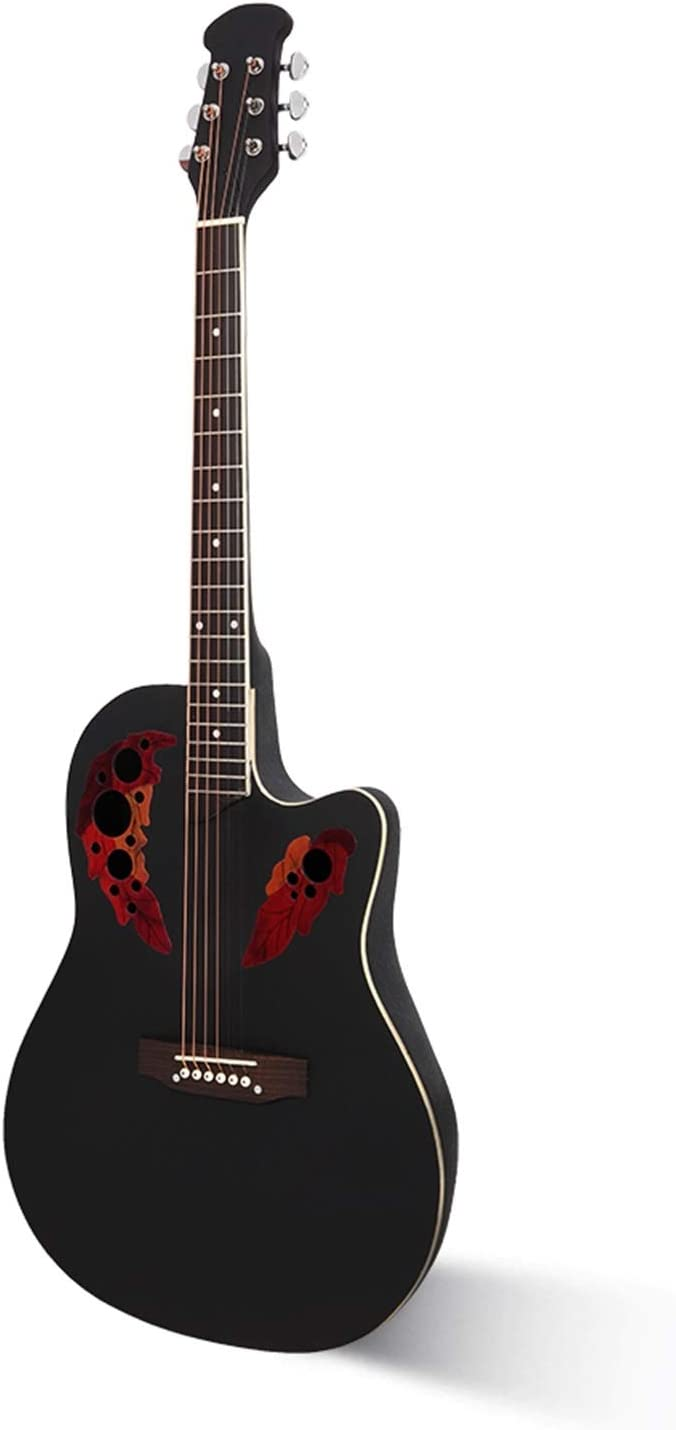 41 Inch Cutawary Round Back Acoustic Guitar Spruce Top Grape Hole Black.