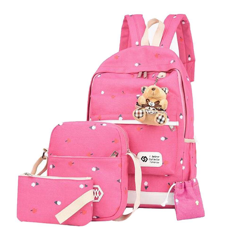 Pawaca Girls School Backpack Lightweight Canvas School Bookbag Causal Travel Bag School Rucksack