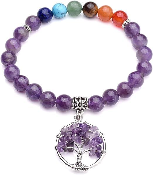 JSDDE 7 Chakra equilibrio de curación piedra cuentas pulsera elástica con colgante de árbol de la vida Gemstone – Meditación, cristal, amatista