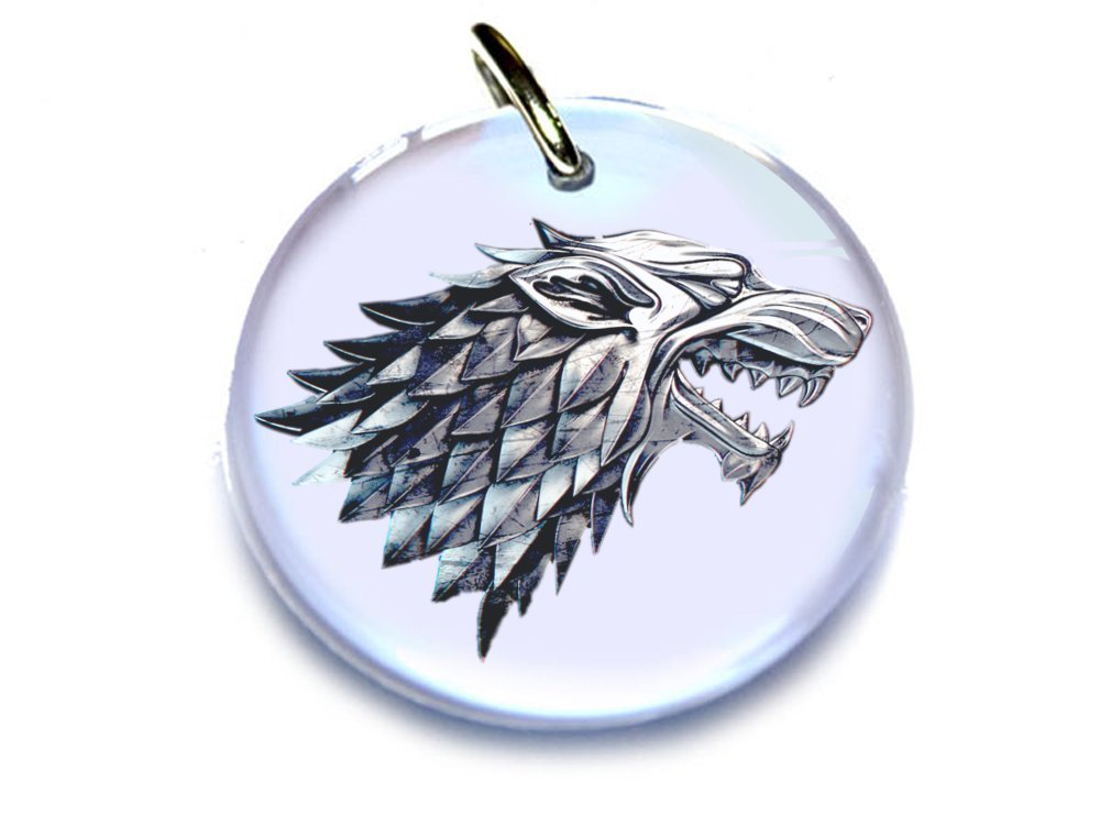 Game of Thrones Custom Pet ID TAG DOG TAG WHITE STARK WOLF (Medium 1.25'')