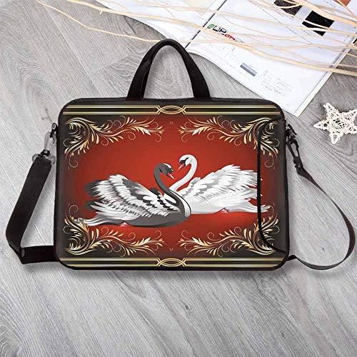 (Animal Waterproof Neoprene Laptop Bag,Black and White Swan Couple Ornamental Framework Romance Grace Tenderness Purity Decorative Laptop Bag for Business Casual or School,13.8