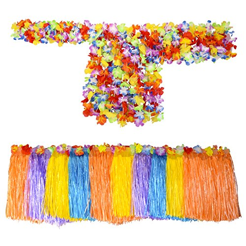 Hawaiian Costume - Grass Skirts and Lei Hula Set for Kids - Pack of 10 Luau Costume Sets for Girls - Flower Necklace, 2 Bracelets, Head Lei, Adjustable Skirt - 50 Pieces Total - Toddlers to Tweens -