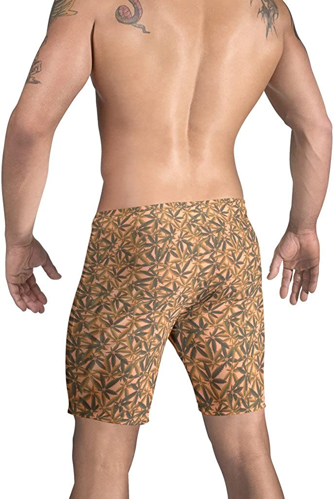 Vuthy Sim Brand Mens Swim Board Shorts in Orange Marijuana Print