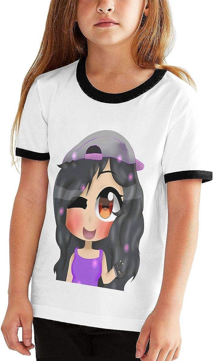 XTYND556 Aphmau Cartoon Boy Junior Short Sleeve Print Tee Casual Loose Fit T-Shirt