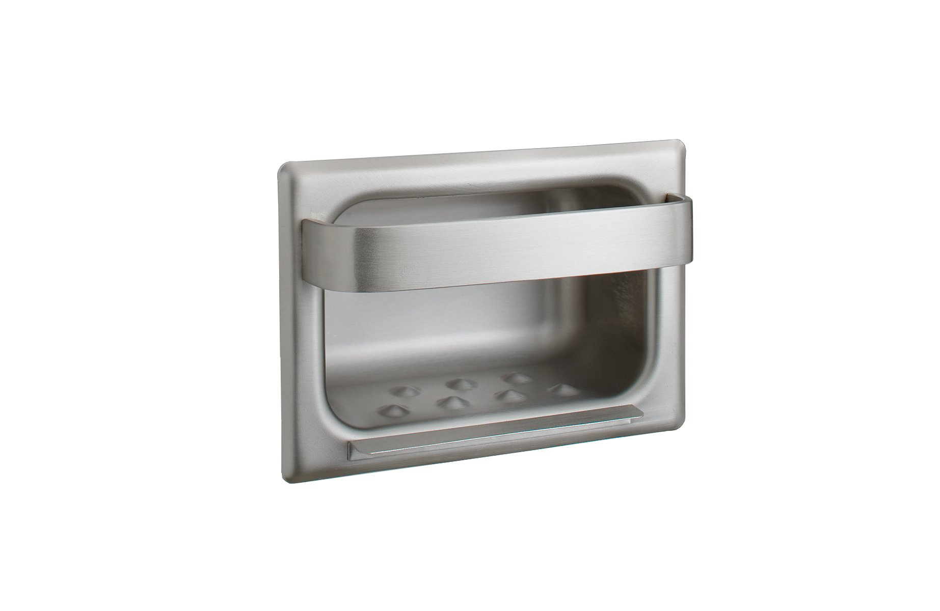 Bobrick 4390 304 Stainless Steel Recessed Heavy Duty Soap Dish and Bar, Matte Finish, 7-316'' Width x 5'' Height
