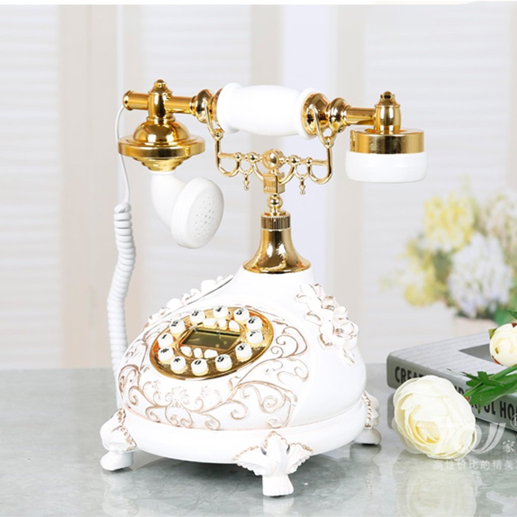 GQQ Wired Telephone Living Room Antique Set Answer Machine Home Bedroom Desk Phone Fixed Fashion Telephone Answering Machine (White,Ceramics, 251726CM)
