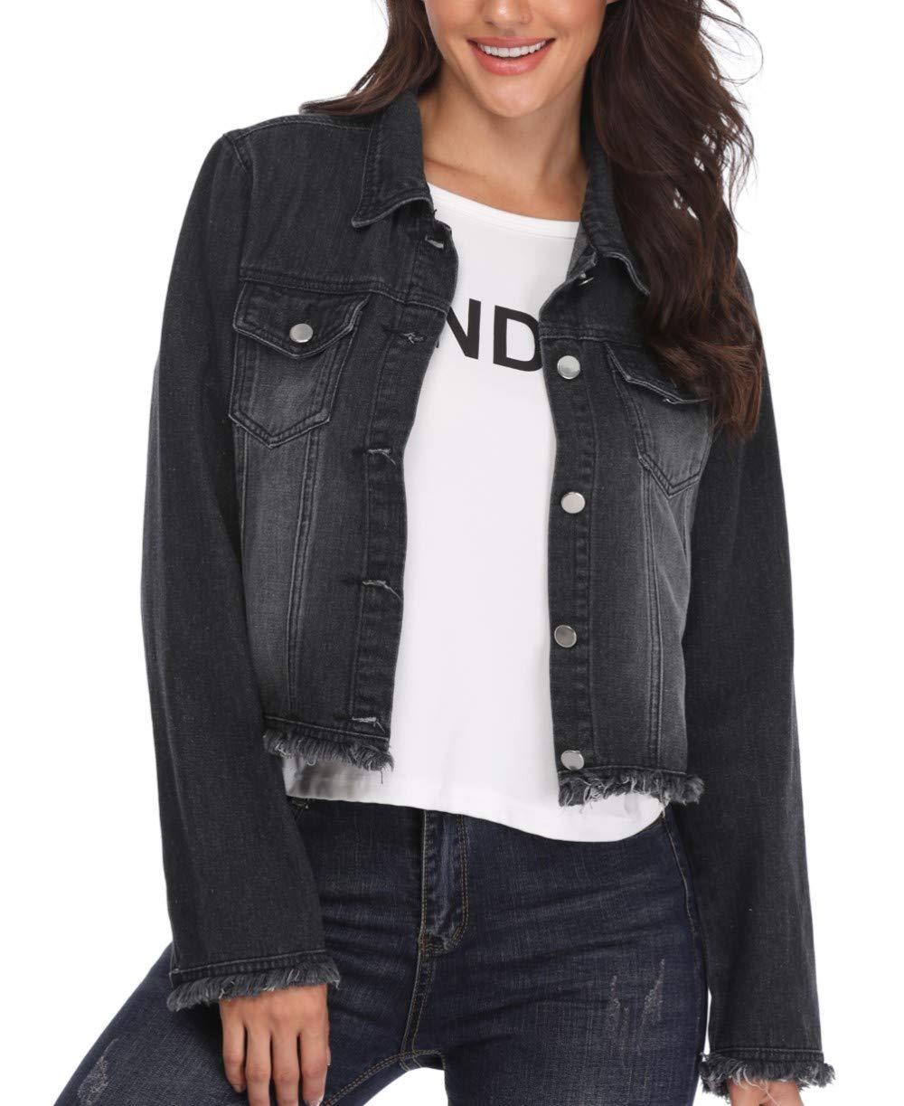 Denim Jackets for Women Button Down Turn Down Collar Jean Coats with Pockets