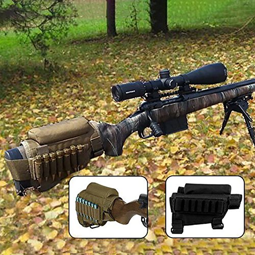 Accessories 17 Hmr (GVN Portable Adjustable Tactical Buttstock Shell Holder Cheek Rest Pouch Holder Pack With Ammo Carrier Case FDE)