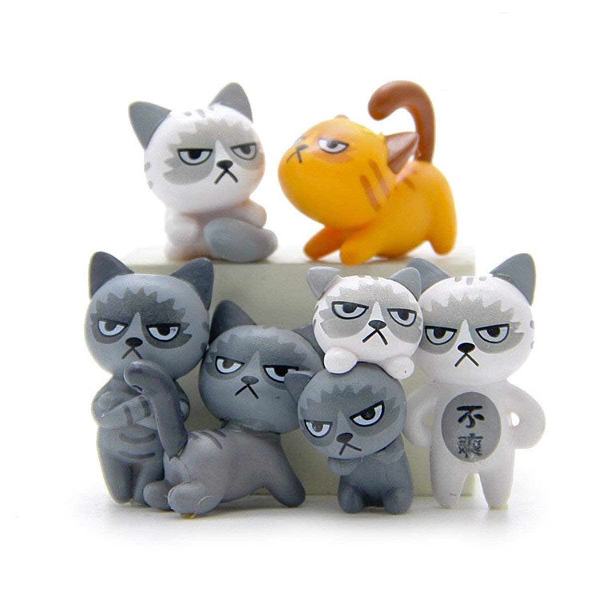 Kalolary 6Pcs/Set Cute Unhappy Cat Doll statue Diy Mini Cartoon Figure Fairy Garden gnome Home Décor Accessorie, Baby Room Decoration Kids Gifts