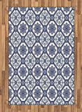 Arabian Area Rug by Lunarable, Arabesque Floral Oriental Persian Afghan Medieval Baroque Tiles Shapes Tribal Artsy, Flat Woven Accent Rug for Living Room Bedroom Dining Room, 4 x 6 FT, Blue White