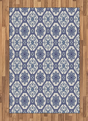 Arabian Area Rug by Lunarable, Arabesque Floral Oriental Persian Afghan Medieval Baroque Tiles Shapes Tribal Artsy, Flat Woven Accent Rug for Living Room Bedroom Dining Room, 4 x 6 FT, Blue White by Lunarable
