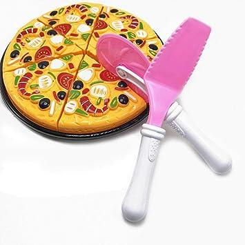 Domybest 9pcs Pizza Giocattolo per Bambini Pizza Finta Gioco Kit Pizza Giocattolo da Tagliare Gioco di Ruolo Giocattolo da Cucina per Bambini