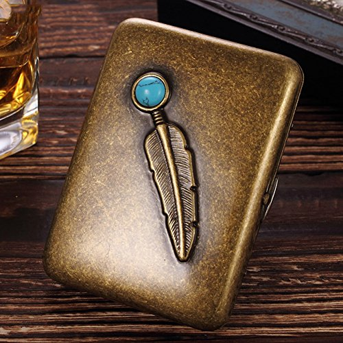 Single Sided Cigarette Case Holds - NACHEN Metallic Copper Cigarette Case Portable Cigarette Holder Box Holds 16 Cigarettes,Color2,94X69x19mm